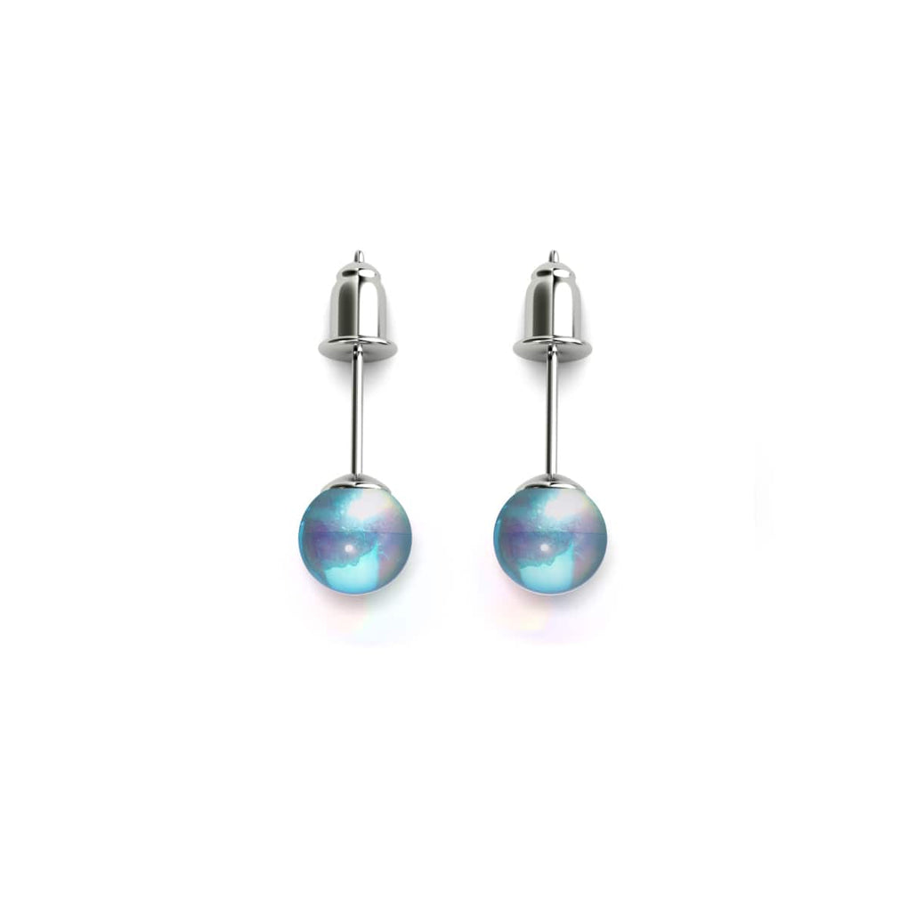 Blue Nebula | .925 Sterling Silver | Galaxy Glass Mini Stud Earrings