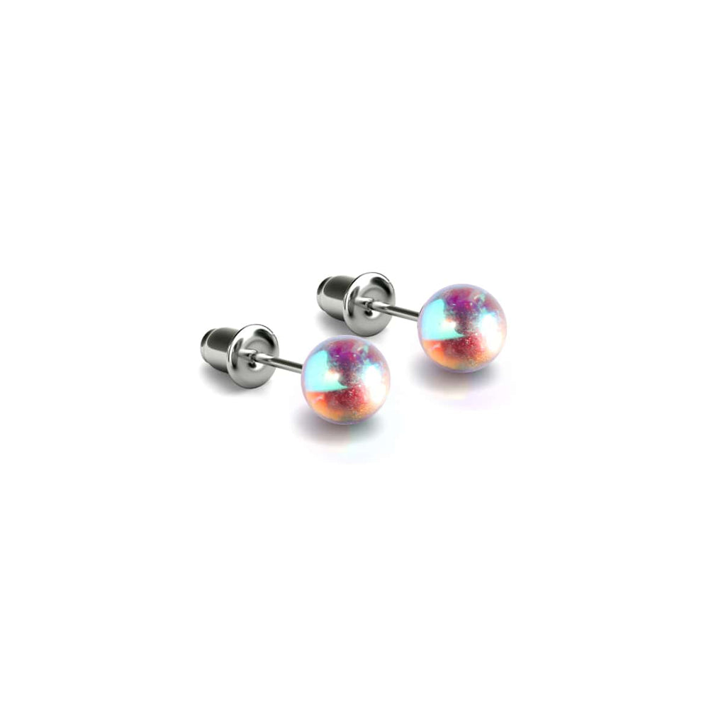 Rainbow Supernova | White Gold Vermeil | Galaxy Glass Mini Stud Earrings