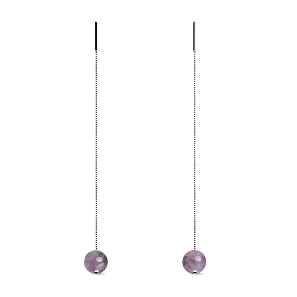 Amethyst | .925 Sterling Silver | Gemstone Chain Drop Threader Earrings