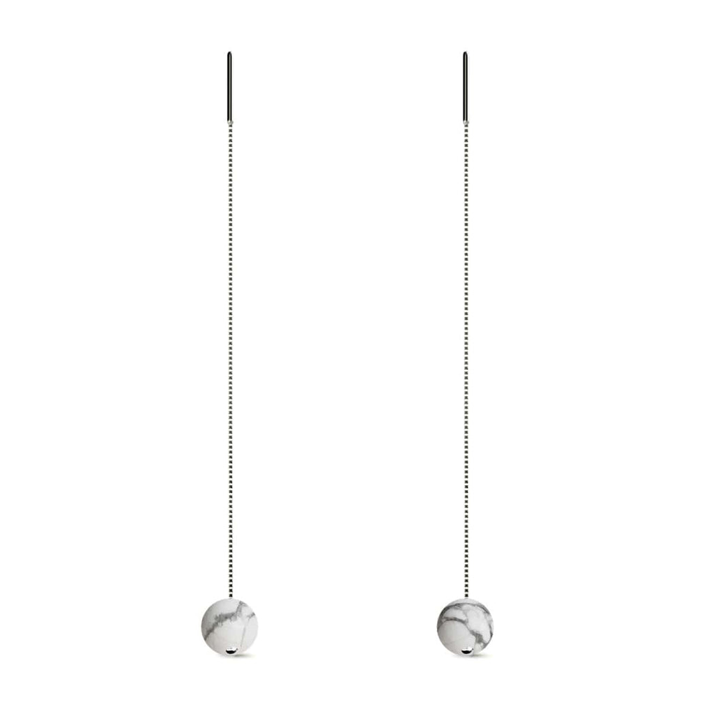 Howlite | .925 Sterling Silver | Gemstone Chain Drop Threader Earrings