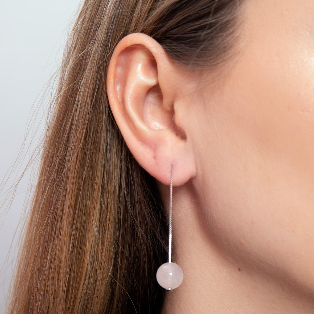 Rose Quartz | .925 Sterling Silver | Chain Drop Threader Gemstone Earrings