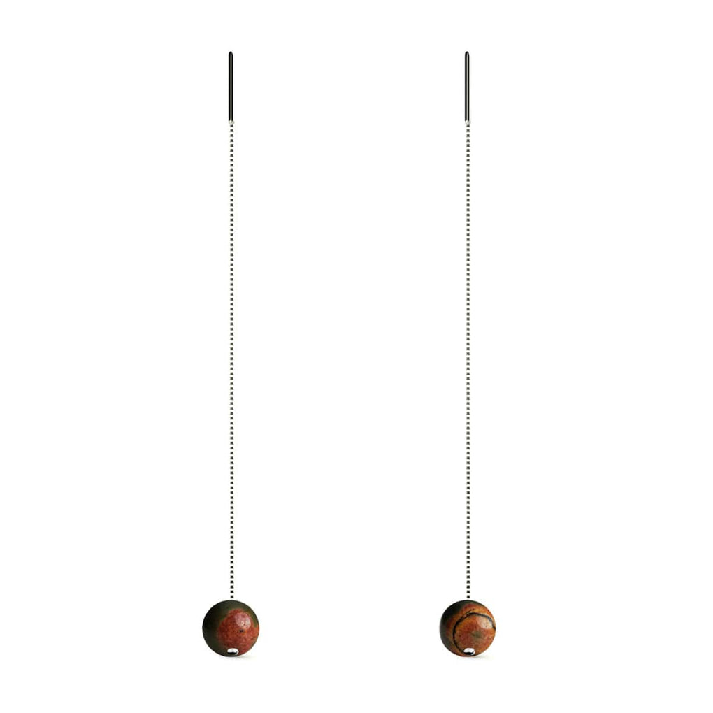 Red Picasso Jasper | .925 Sterling Silver | Gemstone Chain Drop Threader Earrings