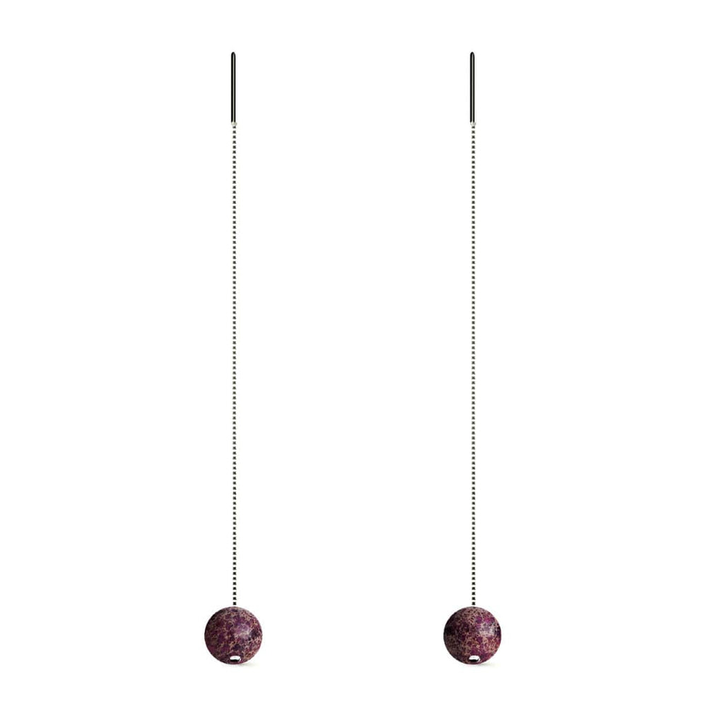 Purple Regarte | .925 Sterling Silver | Gemstone Chain Drop Threader Earrings