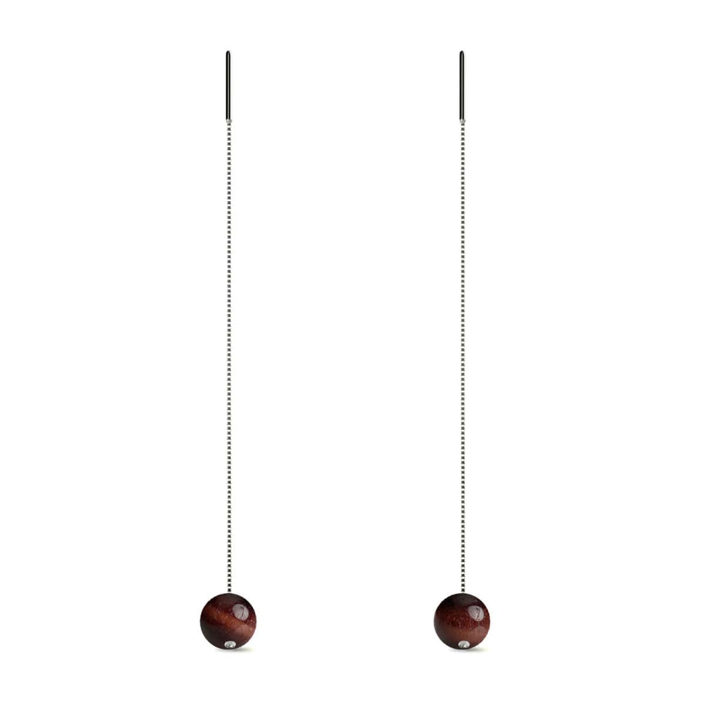 Red Tigers Eye | .925 Sterling Silver | Gemstone Chain Drop Threader Earrings