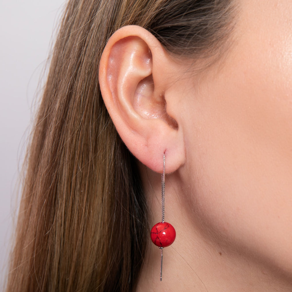 Red Turquoise | .925 Sterling Silver | Gemstone Chain Drop Threader Earrings