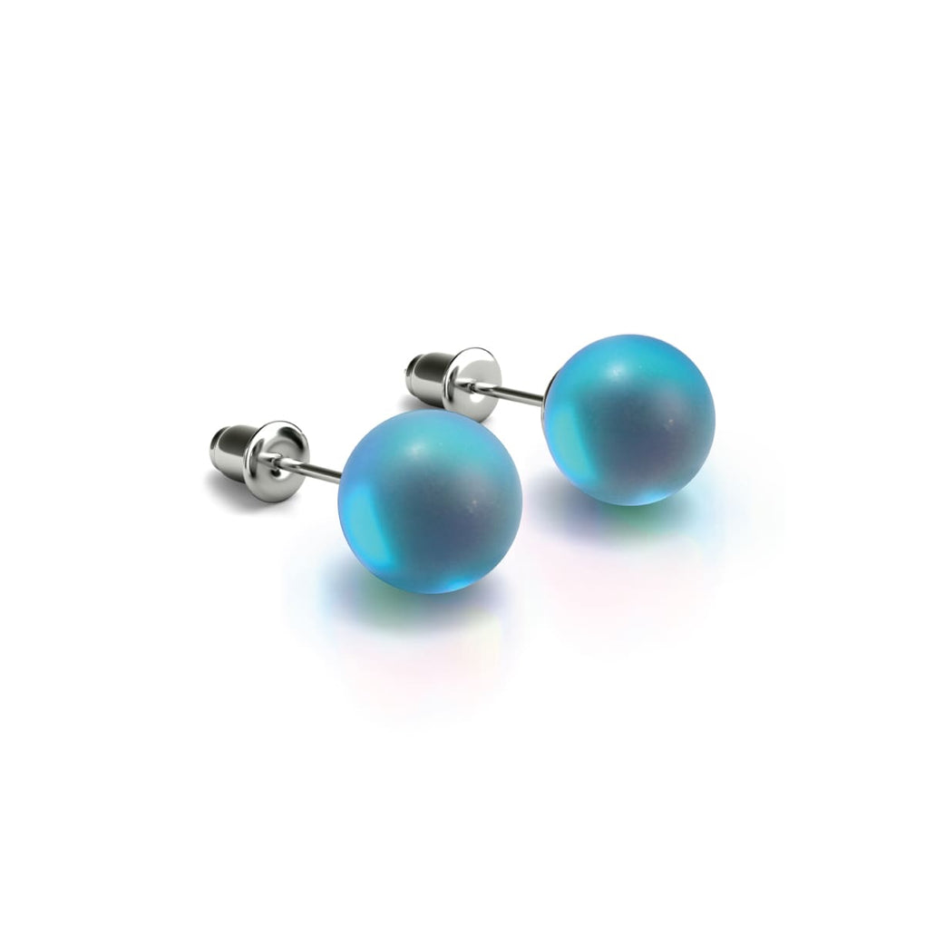 Aquamarine | White Gold Vermeil | Mermaid Glass Stud Earrings