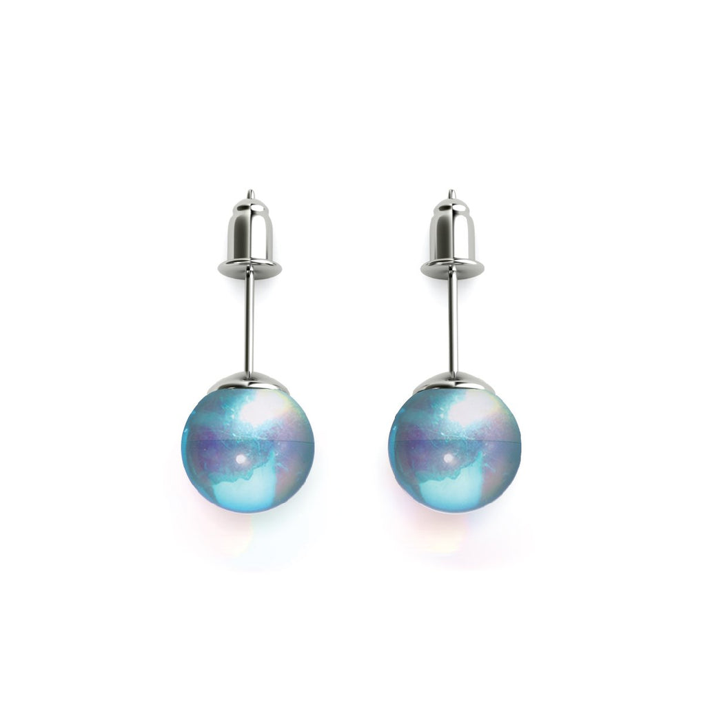 Blue Nebula | White Gold Vermeil | Galaxy Glass Stud Earrings