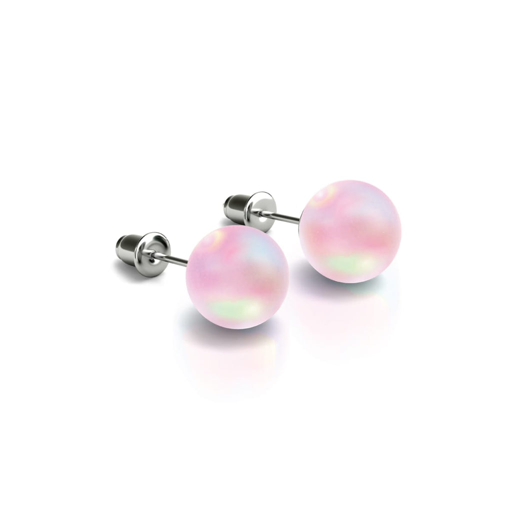 Pink | White Gold Vermeil | Mermaid Glass Stud Earrings