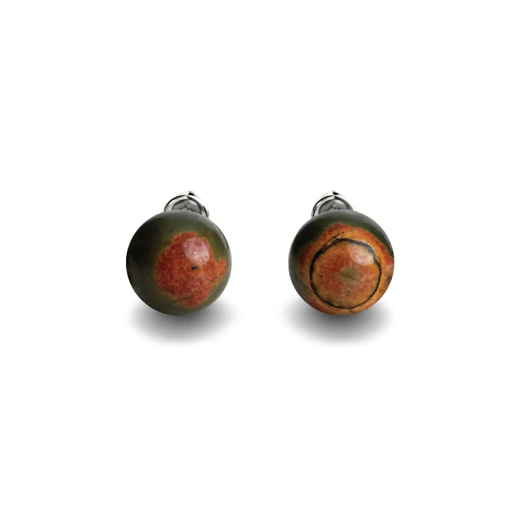 Red Picasso Jasper | .925 Sterling Silver | Stone Stud Earrings