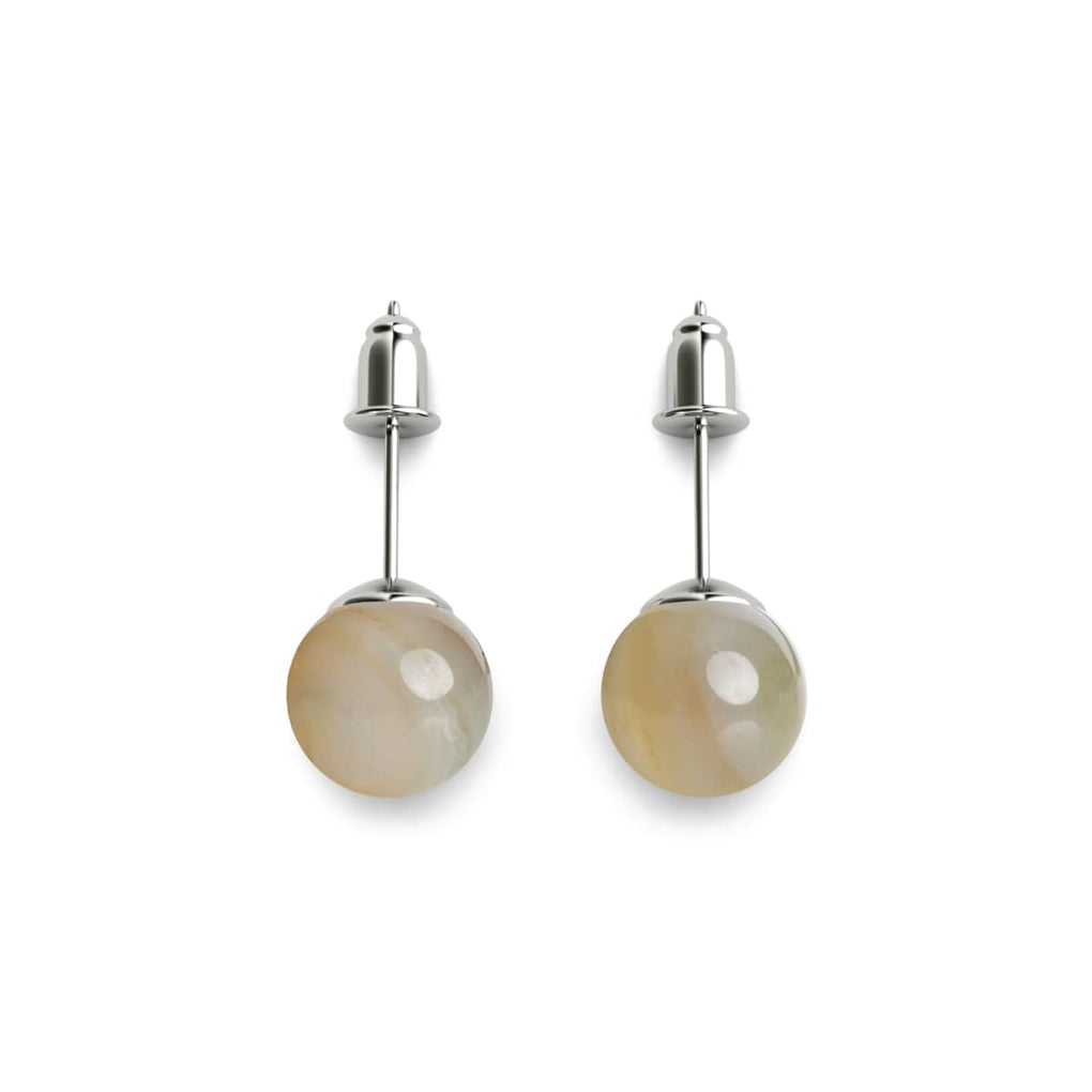 Grey Line Agate | .925 Sterling Silver | Stone Stud Earrings