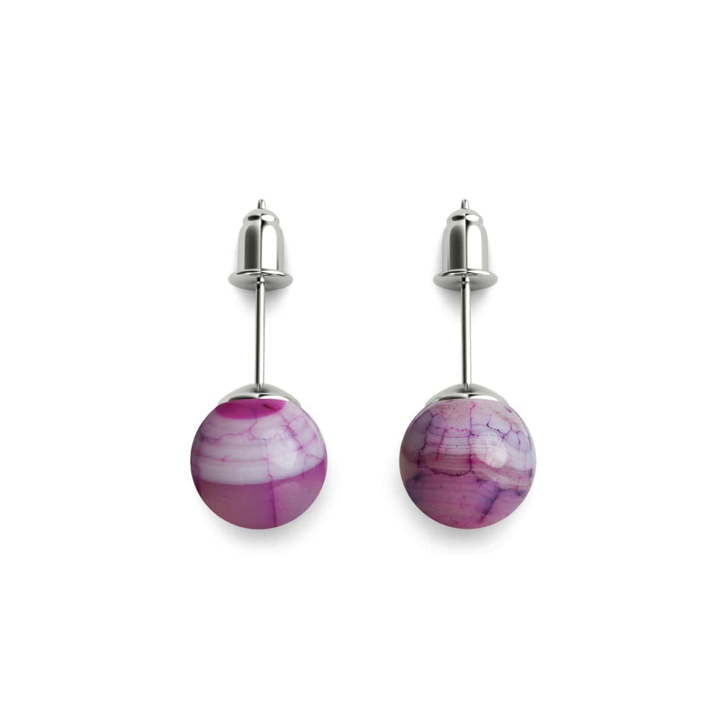 Mulberry Agate | .925 Sterling Silver | Stone Stud Earrings