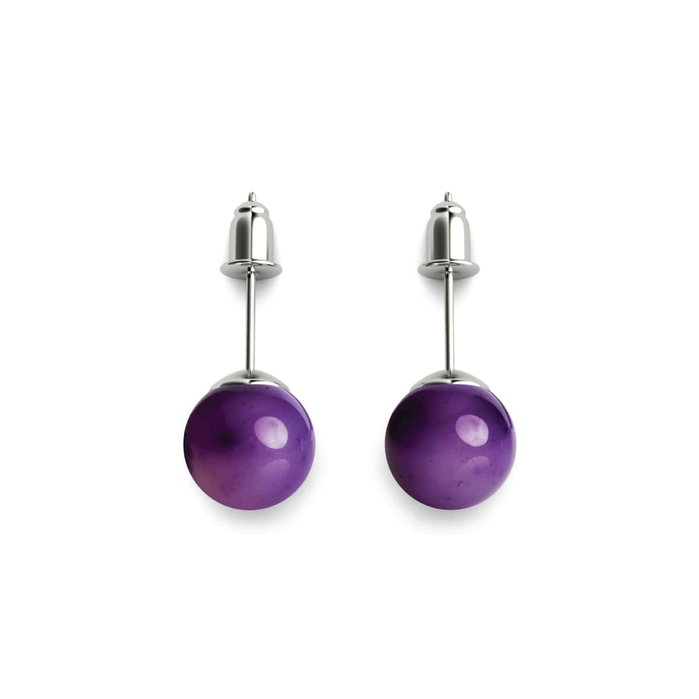 Purple Line Faceted Agate | .925 Sterling Silver | Stone Stud Earrings
