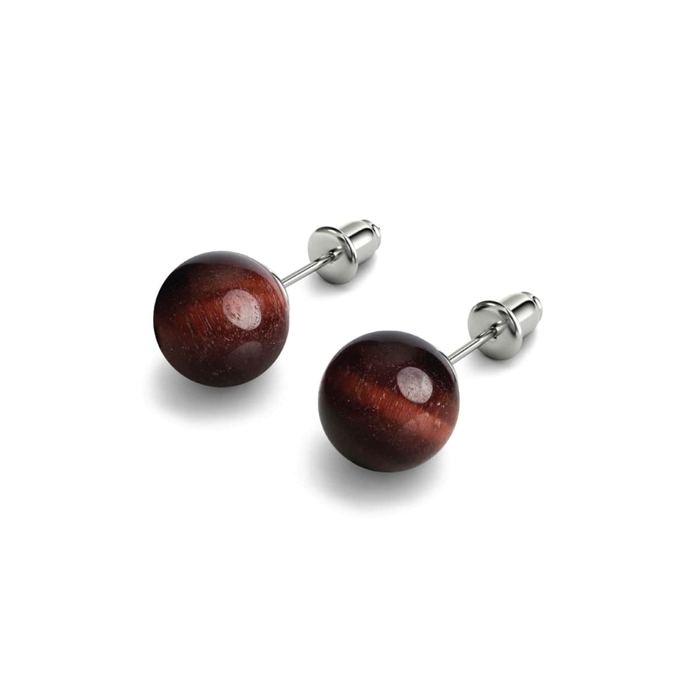 Red Tigers Eye | .925 Sterling Silver | Stone Stud Earrings