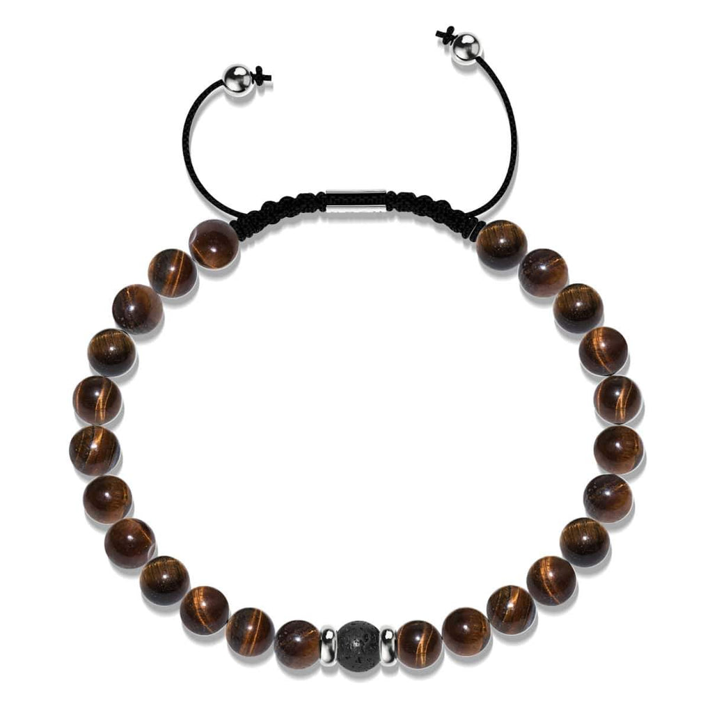 Tiger Eye & Black Lava Rock | Soulmate Bead Bracelet Set | 18k White Gold Vermeil | .925 Sterling Silver