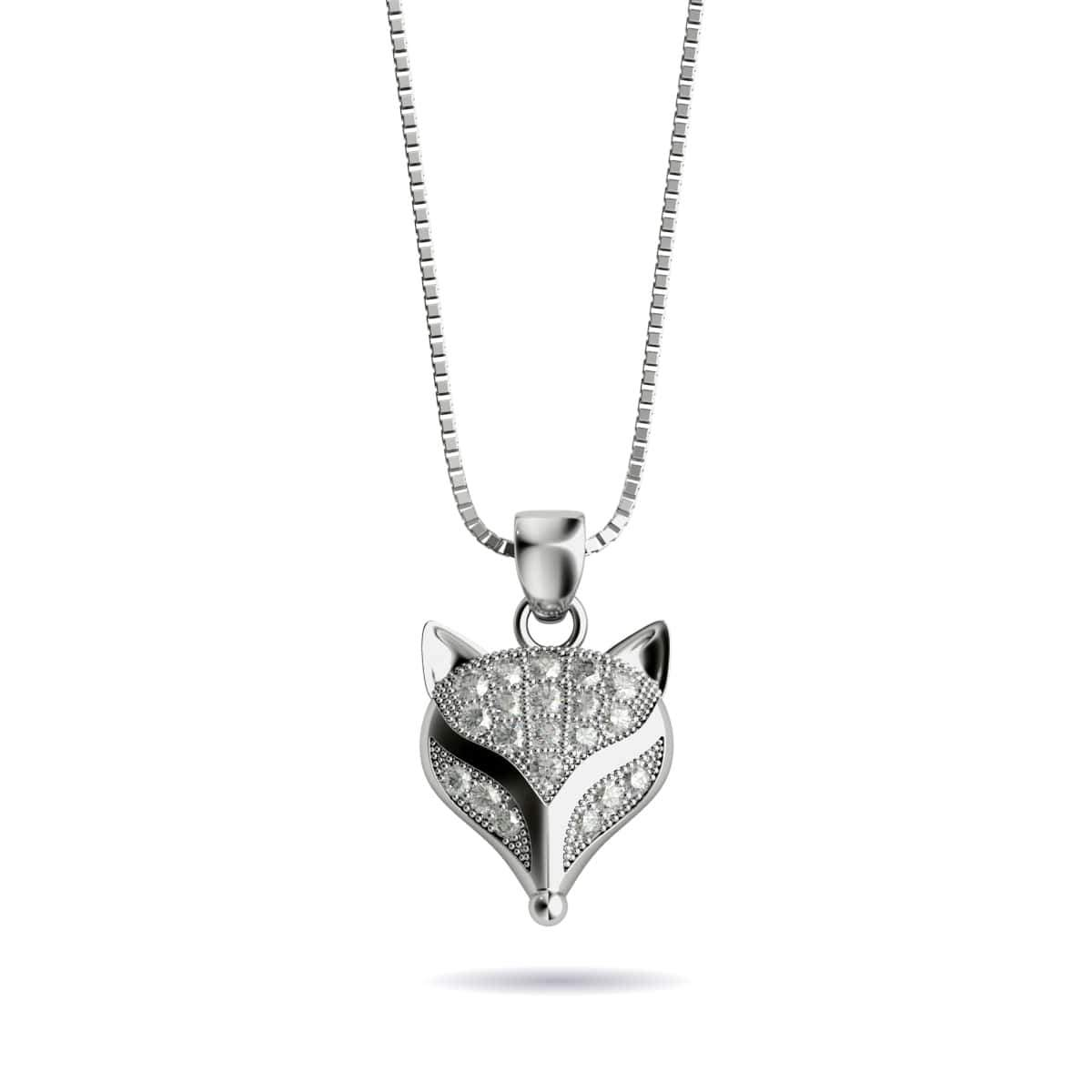 Vixen | White Gold Vermeil | Crystal Fox Charm Necklace