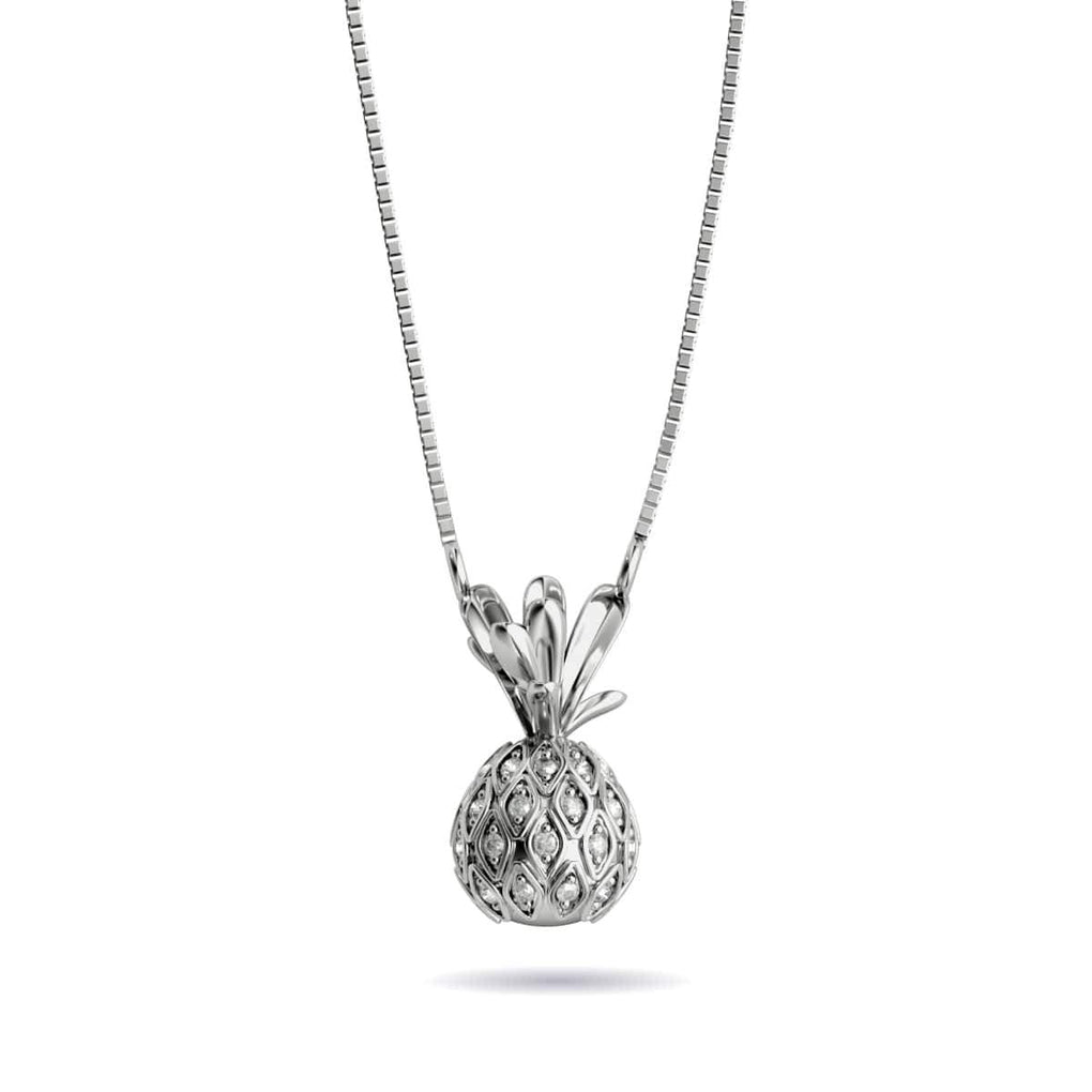 Pina Colada | White Gold Vermeil | Crystal Pineapple Charm Necklace