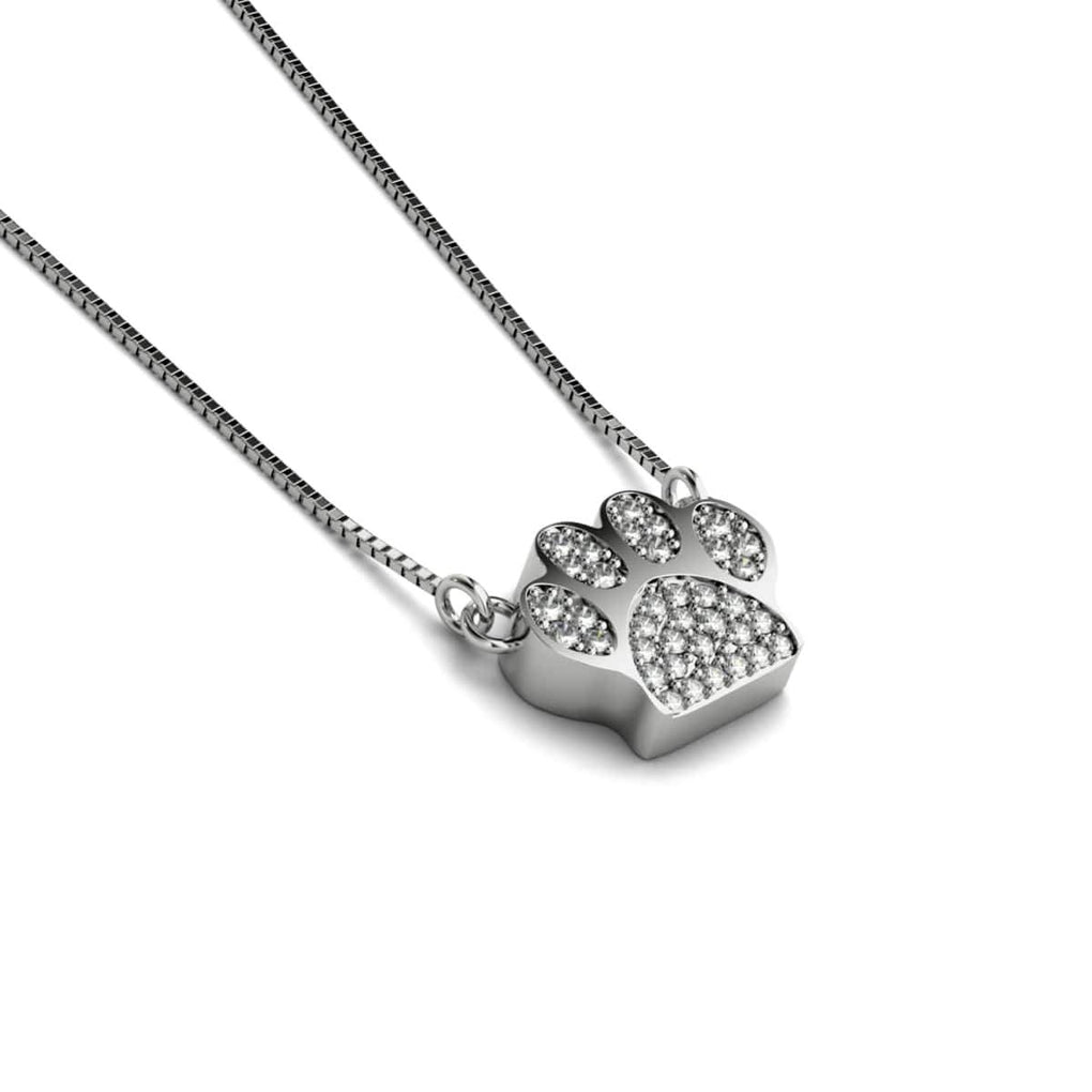 Paw | White Gold Vermeil | Crystal Pup Print Charm Necklace