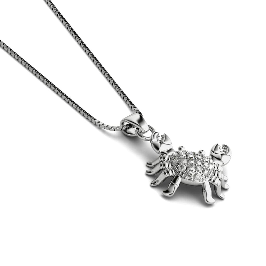 Tropic of Cancer | White Gold Vermeil | Crystal Sea Crab Charm Necklace