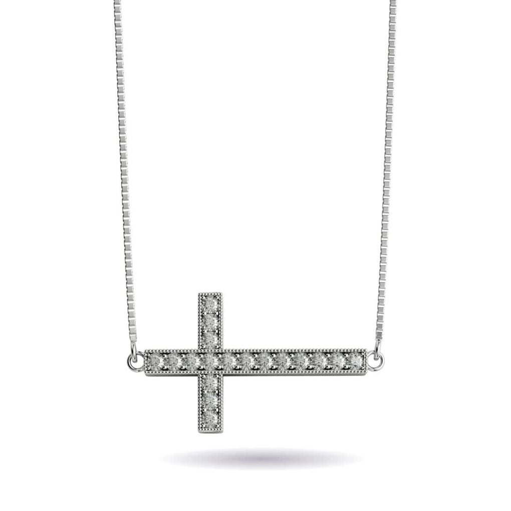 Blessed | White Gold Vermeil | Crystal Cross Charm Necklace