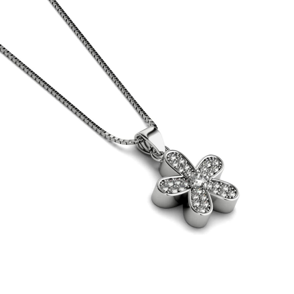 Flower Power | White Gold Vermeil | Crystal Elephant Charm Necklace
