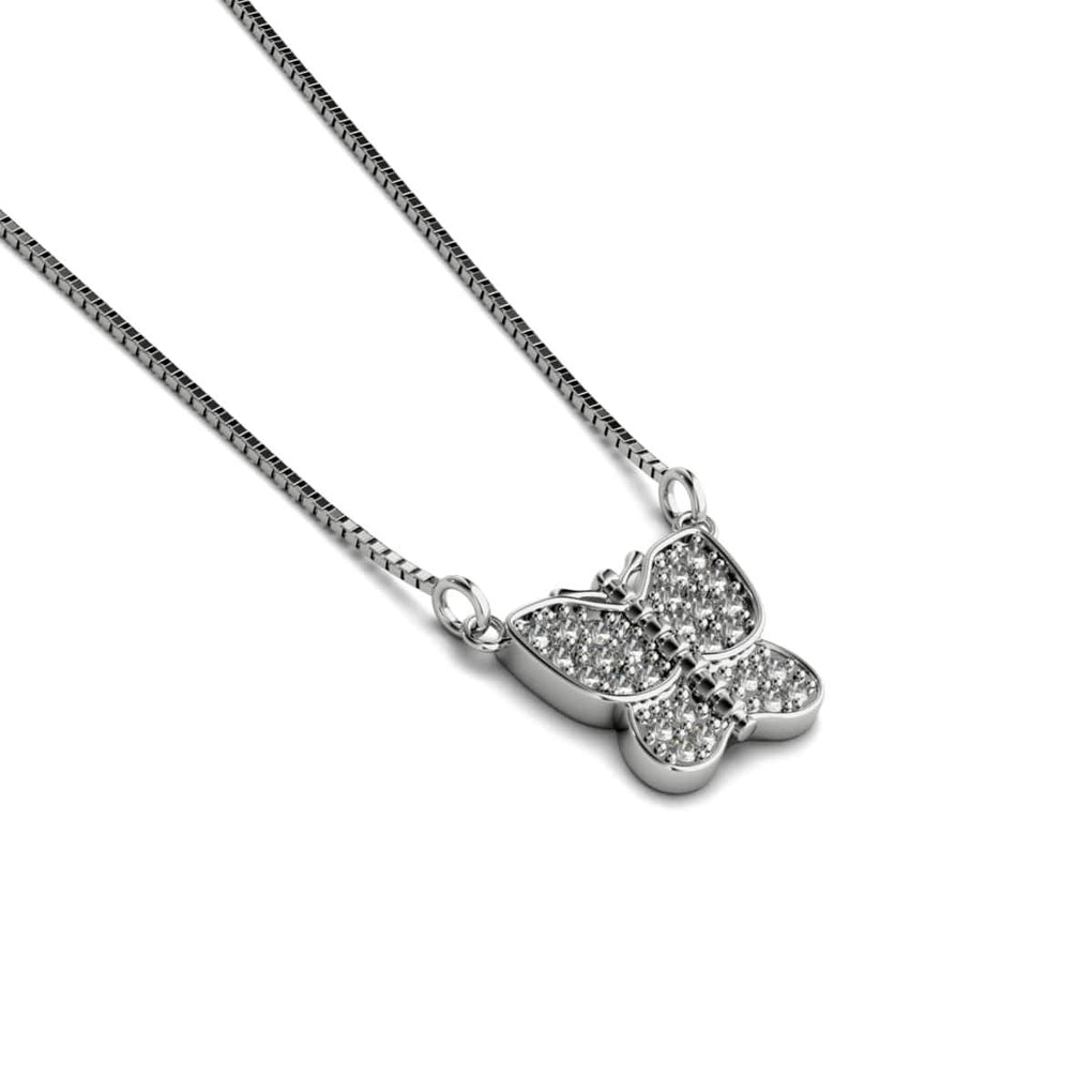 Monarch | White Gold Vermeil | Crystal Butterfly Charm Necklace