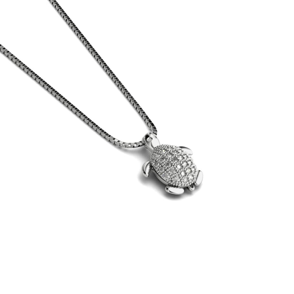 Tortuga | White Gold Vermeil | Crystal Sea Turtle Charm Necklace
