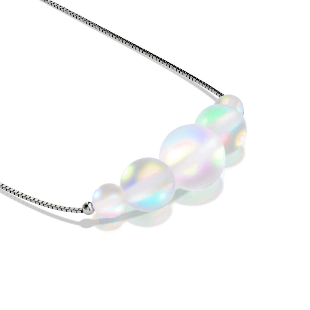 Rainbow White | .925 Sterling Silver | Mermaid Glass Infinity Clasp Necklace