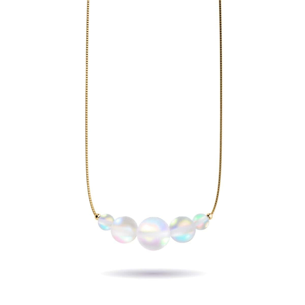 Rainbow White | Gold Vermeil | Mermaid Glass Infinity Clasp Necklace