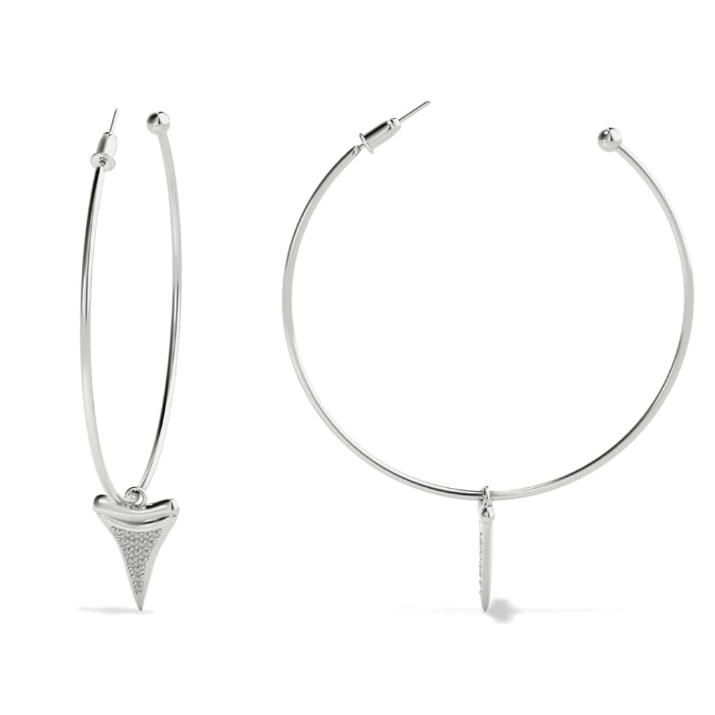 Shark Tooth Hoop Earrings by Lauren Howe | .925 Sterling Silver | Crystal