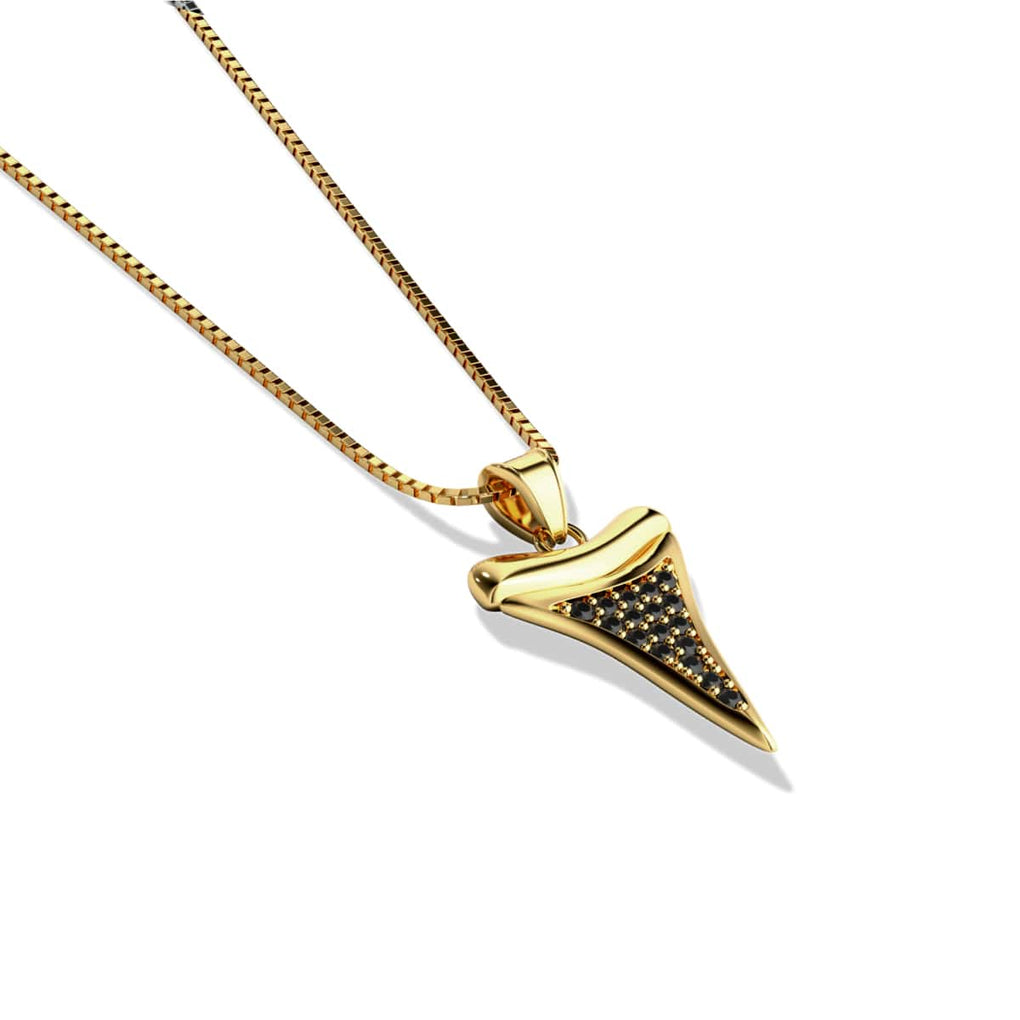 Sharktooth Infinity Clasp Necklace by Lauren Howe | Gold | Black Crystal