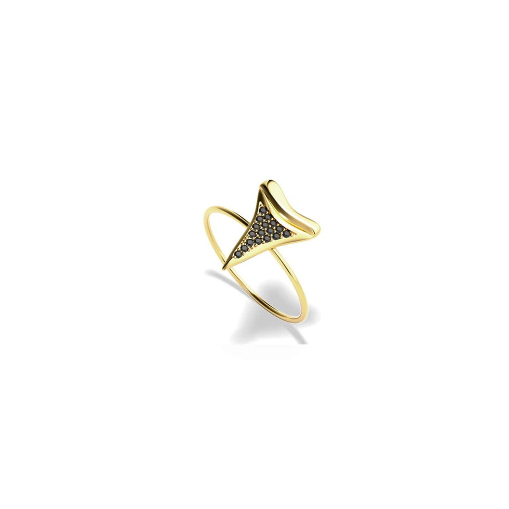 Shark Tooth Ring by Lauren Howe | Gold | Black Crystal