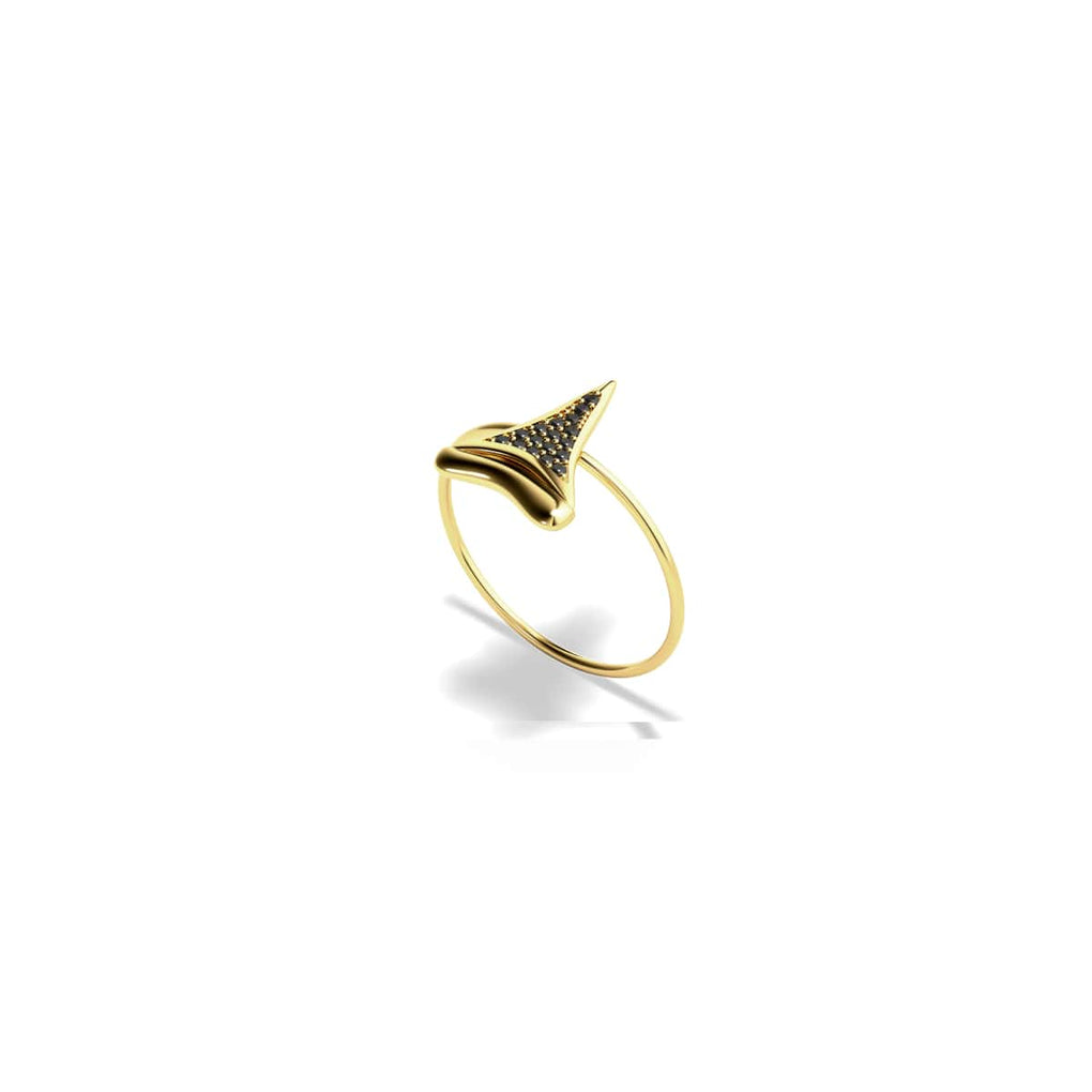 Sharktooth Ring by Lauren Howe | Gold | Black Crystal