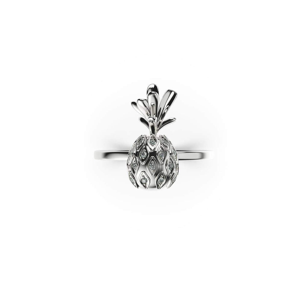Pina Colada | 18k White Gold Vermeil | .925 Sterling Silver | Cubic Zirconia Crystal Pineapple Ring