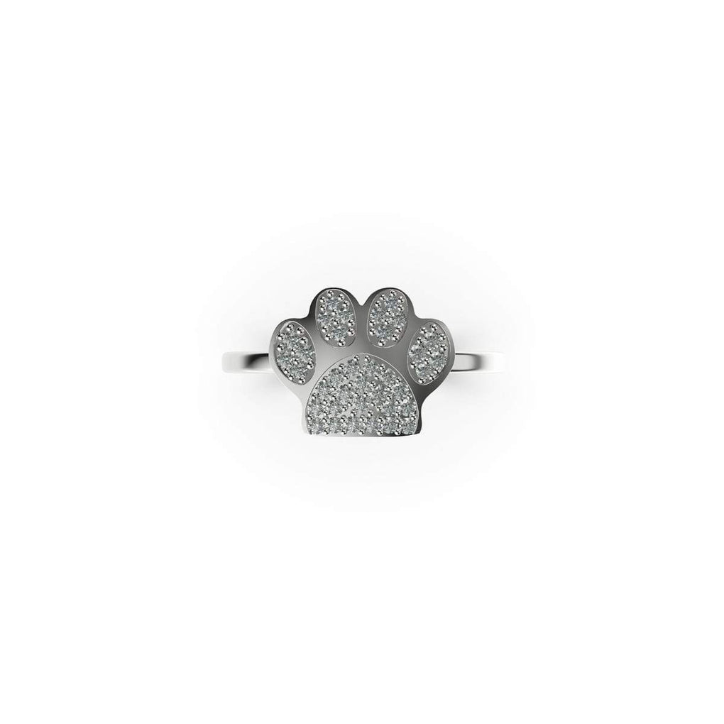Paw | 18k White Gold Vermeil | .925 Sterling Silver | Cubic Zirconia Crystal Pup Print Ring