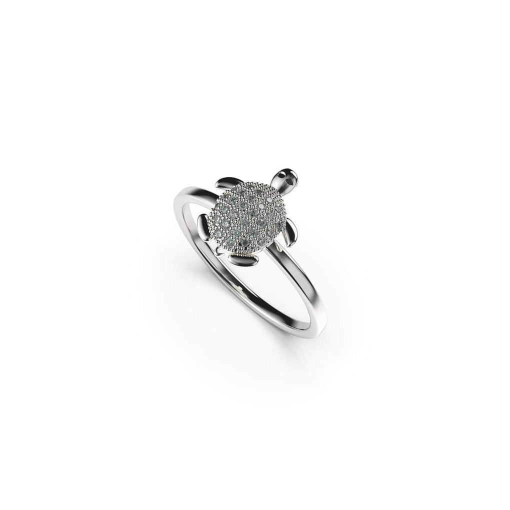 Tortuga | 18k White Gold Vermeil | .925 Sterling Silver | Cubic Zirconia Crystal Sea Turtle Ring