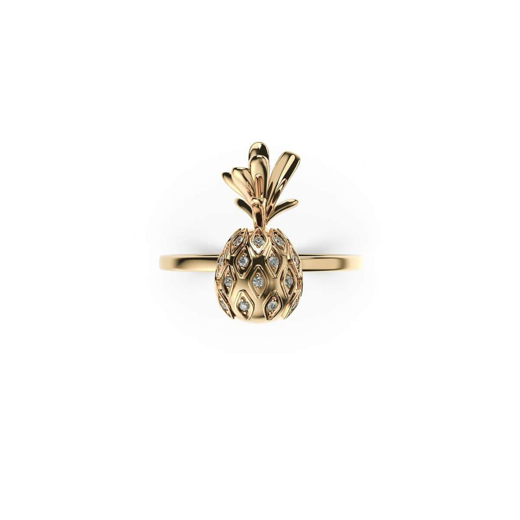 Pina Colada | 18k Gold Vermeil | .925 Sterling Silver | Cubic Zirconia Crystal Pineapple Ring