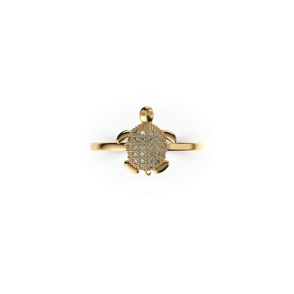Tortuga | 18k Gold Vermeil | .925 Sterling Silver | Cubic Zirconia Crystal Sea Turtle Rin