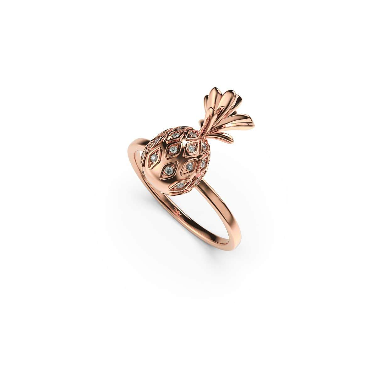 Pina Colada | 18k Rose Gold Vermeil | .925 Sterling Silver | Cubic Zirconia Crystal Pineapple Ring