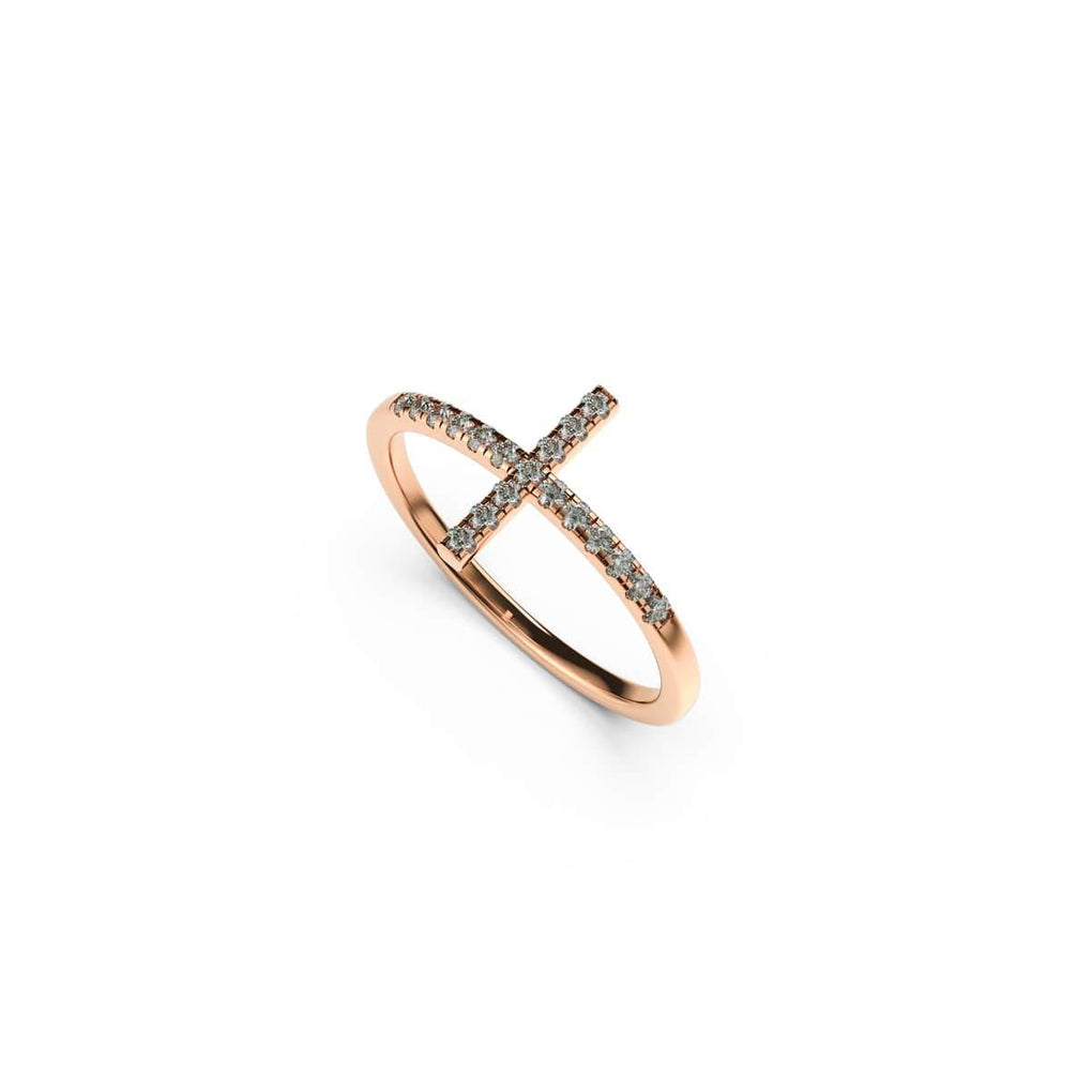 Blessed | 18k Rose Gold Vermeil | .925 Sterling Silver | Cubic Zirconia Crystal Cross Ring