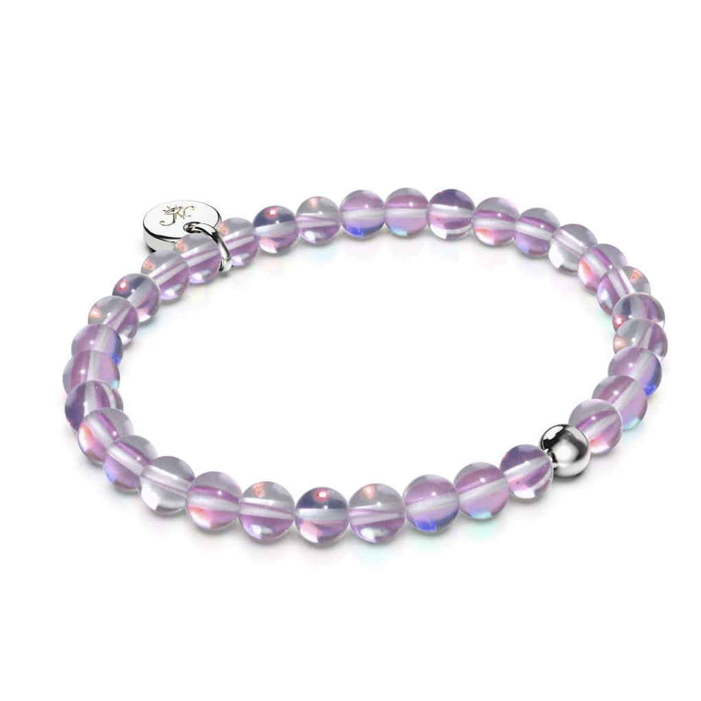 Cosmic Purple Crystal | .925 Sterling Silver | Galaxy Glass Bead Bracelet