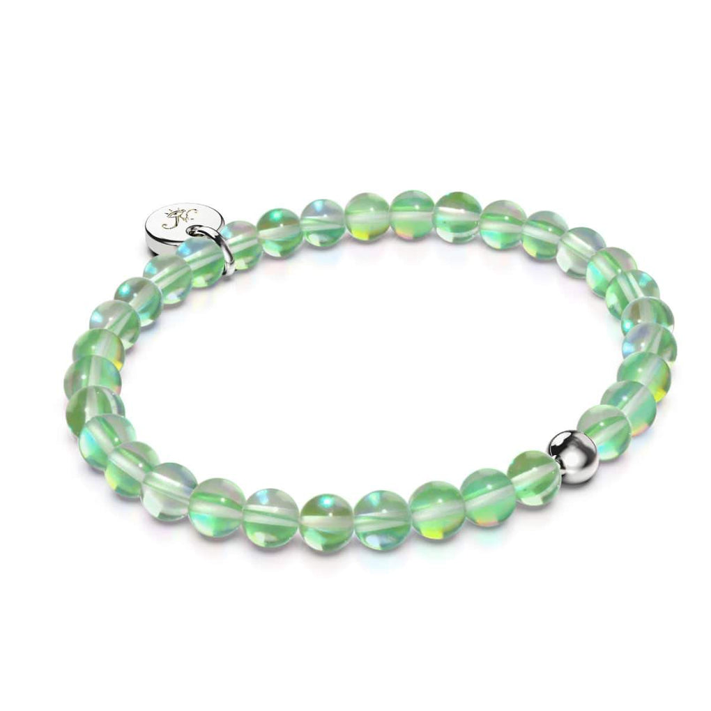 Verdant Moon | .925 Sterling Silver | Galaxy Glass Bead Bracelet
