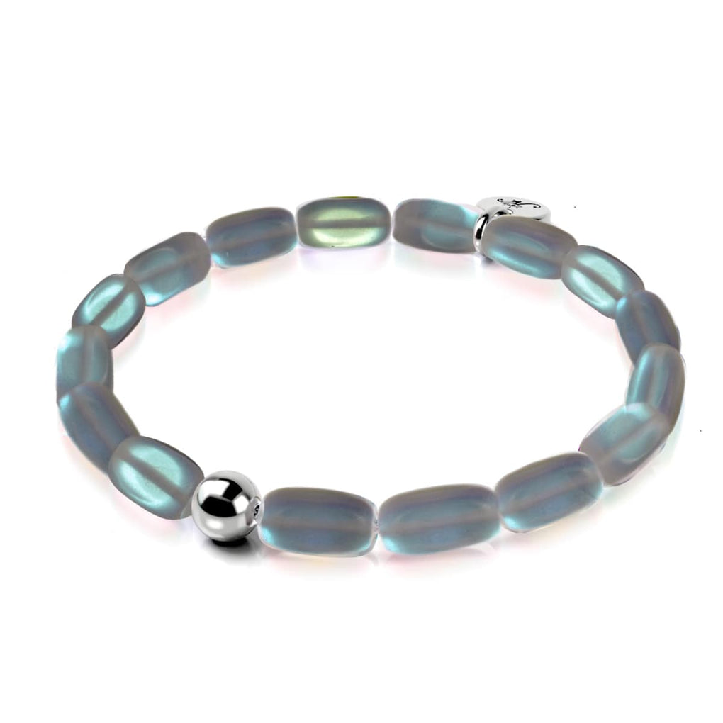 Grey | .925 Sterling Silver | Mermaid Glass Pebble Bracelet