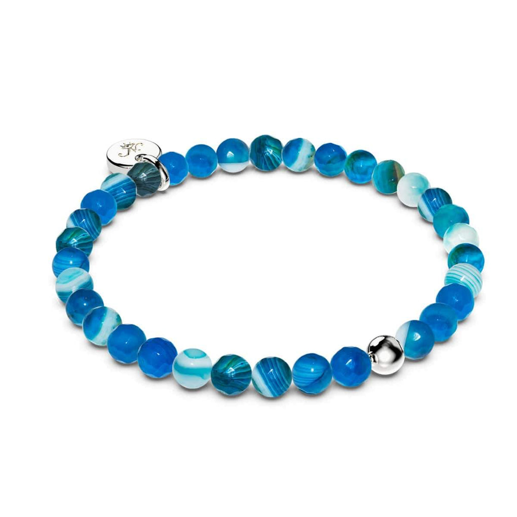 Blue Line Agate | 18k White Gold Vermeil | .925 Sterling Silver | Healing Stone Bead Bracelet