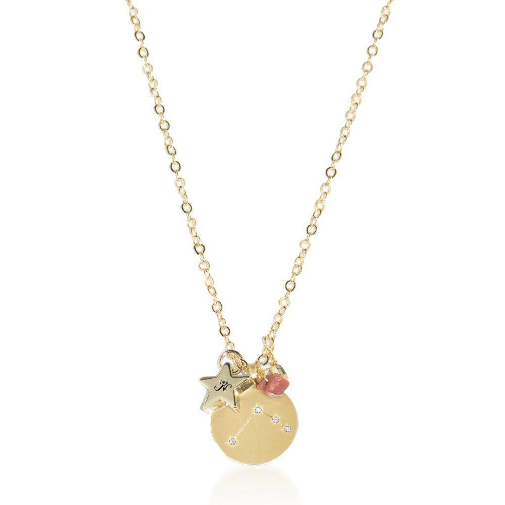 Aries gold zodiac crystal gold sandstone necklace