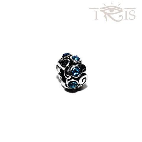 Jill - Blue Crystal Cloud Swirl Silver Filled Charm from IRIS
