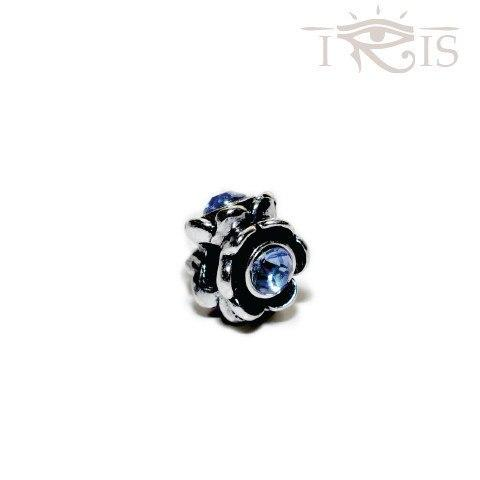 Filomena - Blue Crystal Rose Flower Silver Filled Charm from IRIS