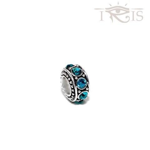 Irene - Blue Crystal Royal Wheel Silver Filled Charm from IRIS