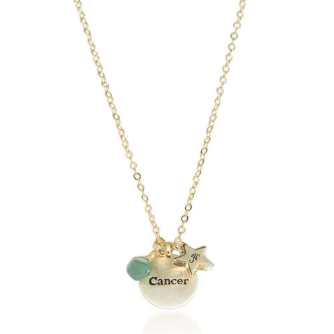 Cancer gold zodiac crystal emarald necklace