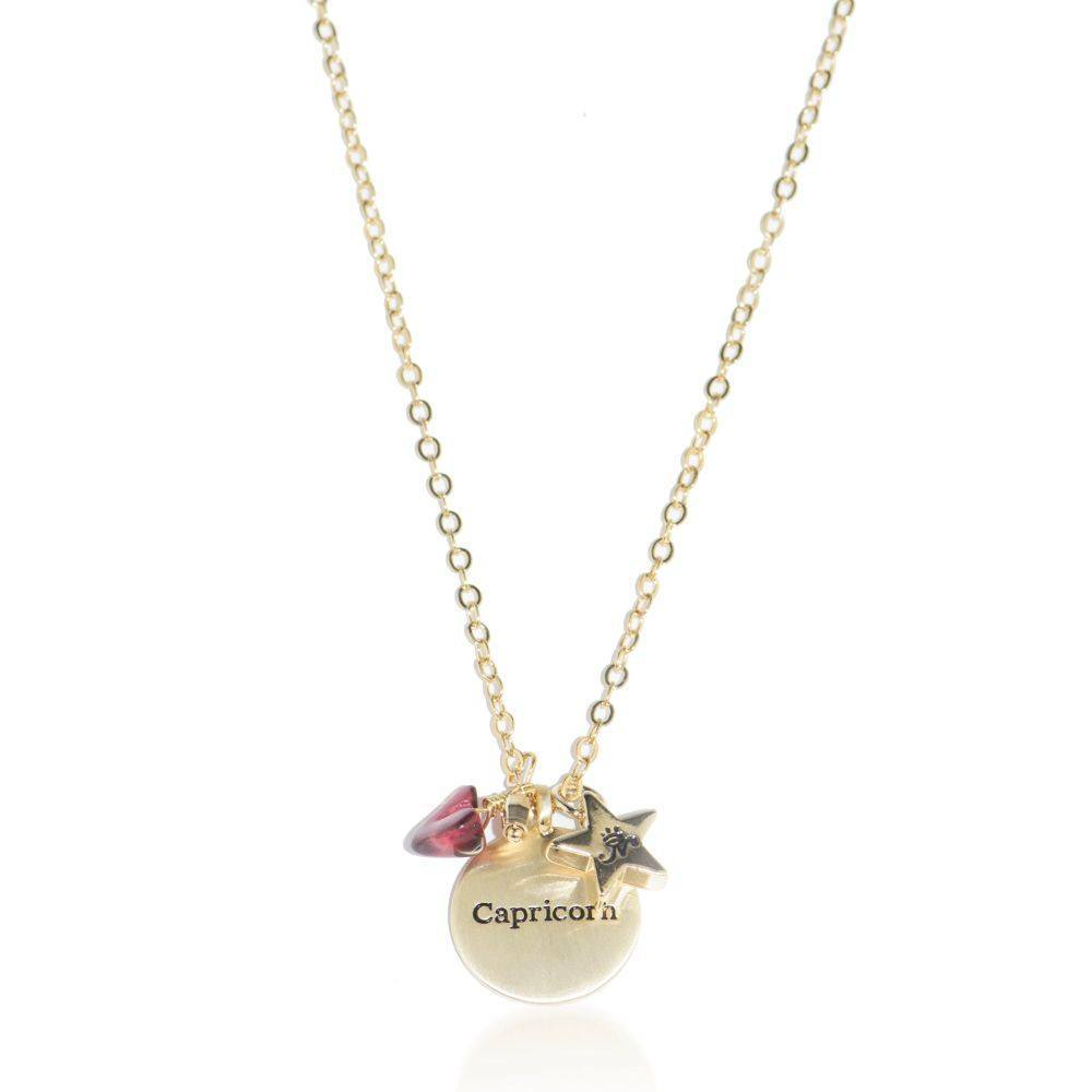 Capricorn gold zodiac crystal ruby necklace