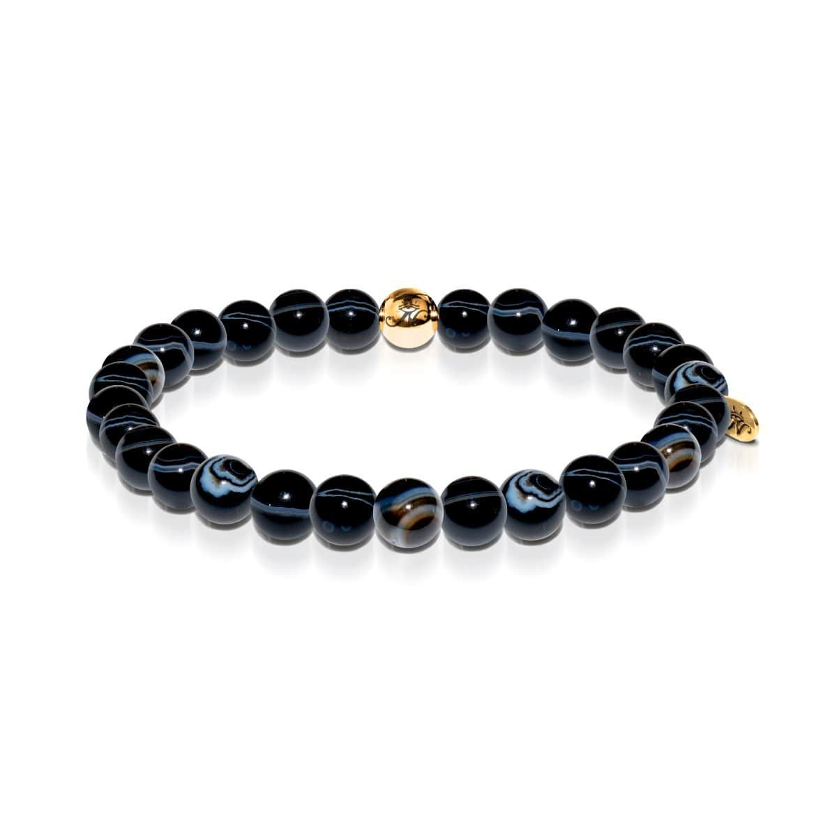 Men's | 18k Gold | Black Line Agate Bead Bracelet